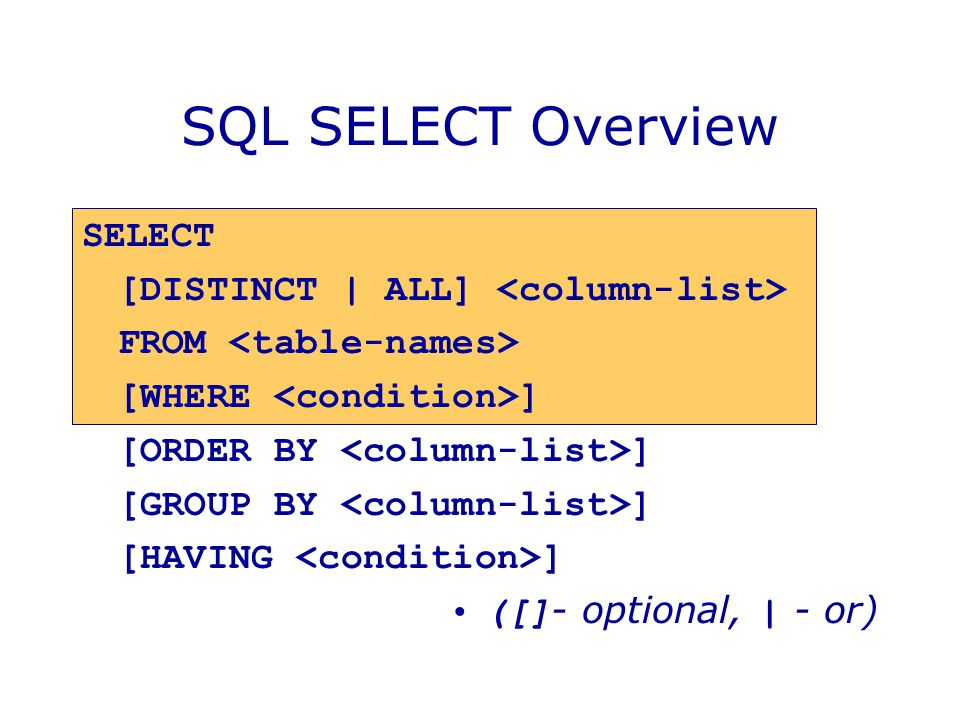 SQL SELECT Overview SELECT [DISTINCT | ALL] <column-list>